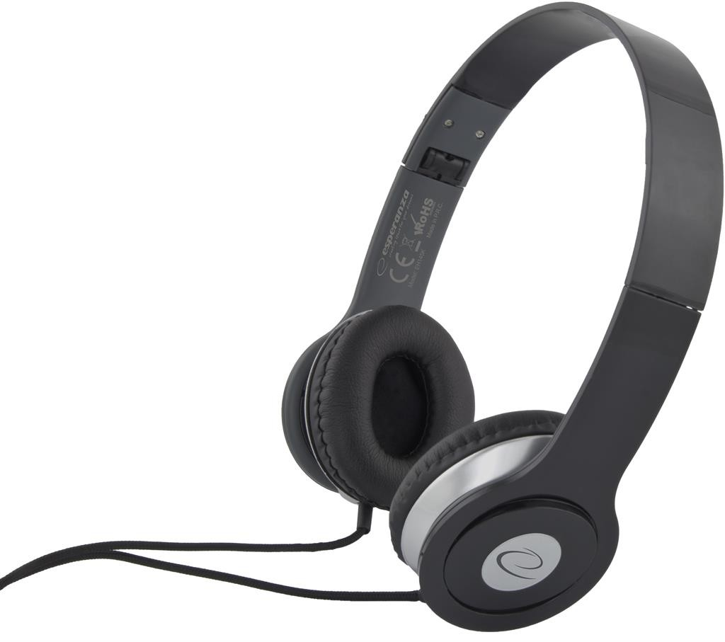 Headphones<br> Esperanza EH145K<br>Techno Black