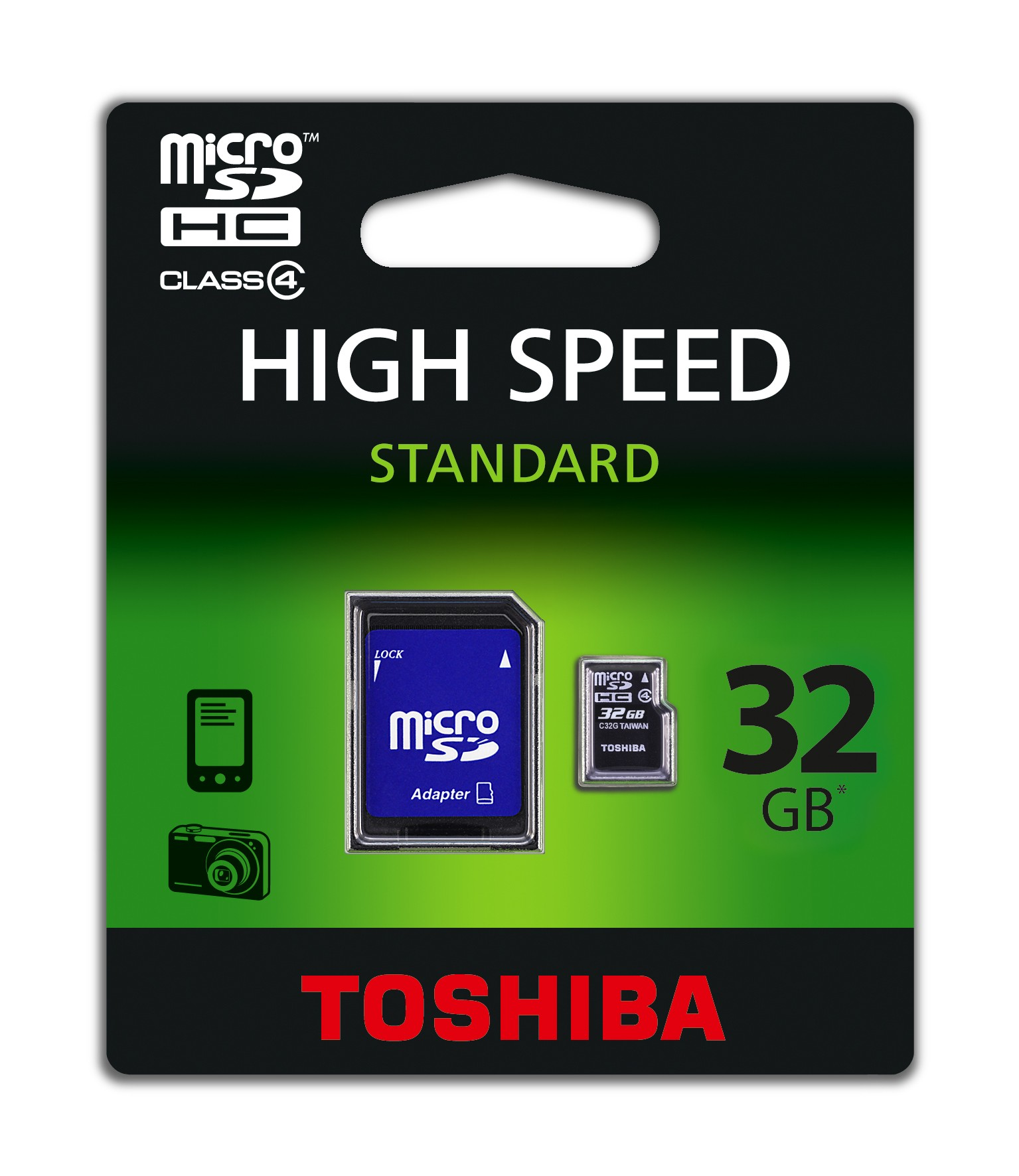 Toshiba microSD<br> Memory Card 32GB +<br>Adapter