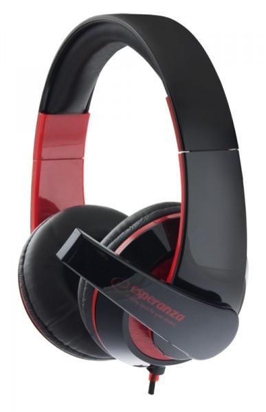 Headphones<br> Esperanza EH156R<br>Condor black-red